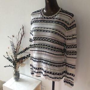 Maje Striped Crocheted  Sweater